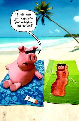 Funny Sunbathing Pigs Bacon Birthday Card Humour Greeting Cards Out Of The Ark