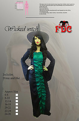 WICKED WITCH DELUXE HALLOWEEN LADIES FANCY DRESS COSTUME SIZE UK16-18 - Wicked Halloween Costumes Uk