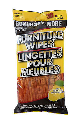 Pre-Moistened Lemon Scent Furniture Cleaning Wipes Clean Restore Condition Wood