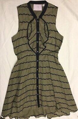 Cute Army Clothes (Anthropologie Sz 2 Sleeveless Dress 9-H15 STCL Army Green Black Button Up)