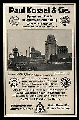 Grosse Werbung 1925 (1) Paul Kossel & Cie. Stahlbeton-Bau Hansamühle Rolandmühle
