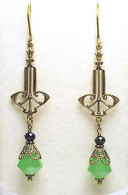 Art Nouveau Art Deco Style Antique Brass Green Opal Black Onyx Flower Earrings