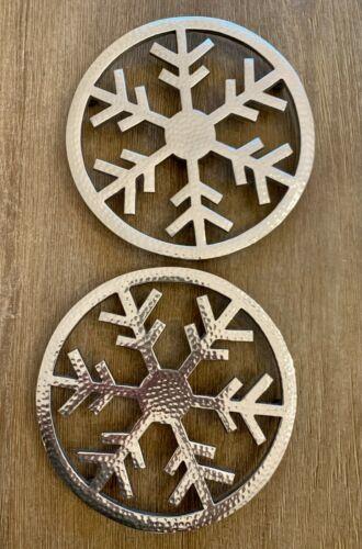 Crate & Barrel - Set of 2 Silver Snowflake Trivet - 8 Inch across - Christmas