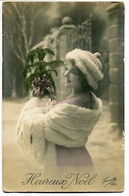 CPA - Carte Postale - Fantaisie - Portrait de Femme - Heureux Noël ( I11690)