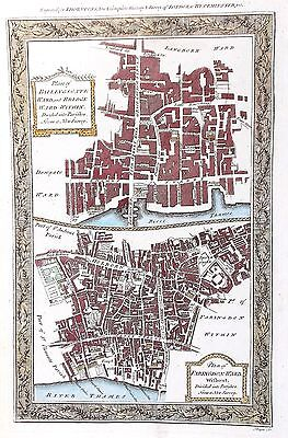 OLD ANTIQUE MAP PLAN LONDON BILLINGSGATE FARINGDON c1780's by THORNTON ENGRAVING