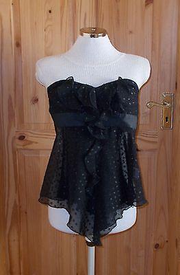 JANE NORMAN black chiffon polka dot spotted strapless corset top STEAMPUNK 6 34