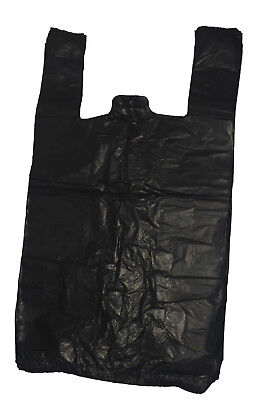 Plastic Vest Black Carrier Bags STRONG 11x17x21