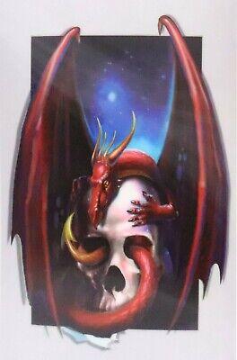 Gothic Skull Devil Dragon Weaving In Out  - 3D Lenticular Poster Print -12 x16