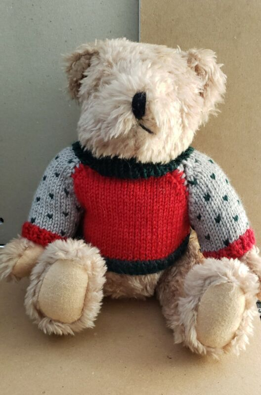 Plush Teddy Bear, Used, with sweater, Clean, no stains or tears