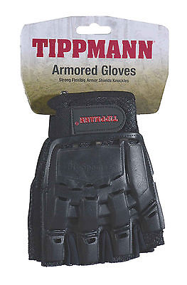 Tippmann Armored Black Tactical Half Finger Paintball Airsoft Gloves Large LG