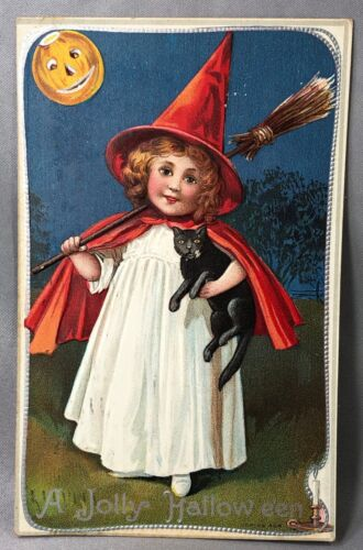 1911 Jolly HALLOWEEN Red Cape WITCH Black CAT Embossed Postcard ANTIQUE Original