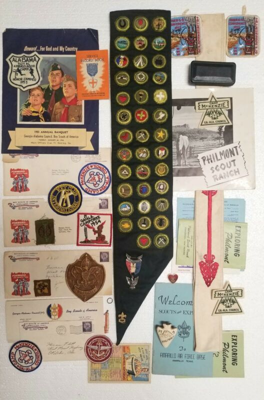 Old Boy Scout Collectible Lot Antique Eagle Medal Sashes Badges Patches & More