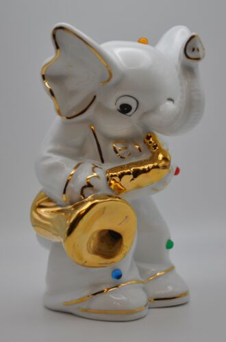 White Elephant Ceramic Coin Piggy Bank w/Colorful Bead Accents Playing Saxophone