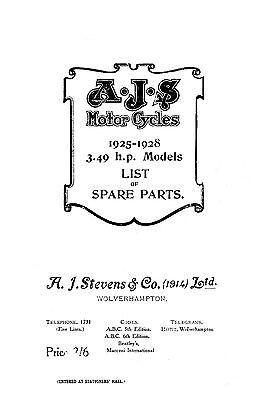 (0006) 1925 to 1928 AJS 3.49hp parts catalogue