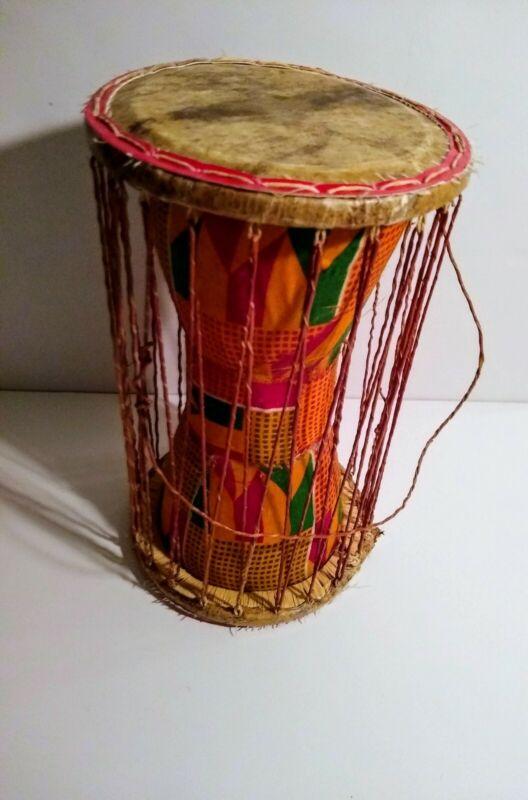Vintage African Cultural Talking Drum Wood Leather 11x6