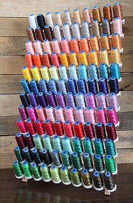 MACHINE EMBROIDERY THREAD SET: 120 POLYESTER COLORS ON 1100YD MINI-KING CONES