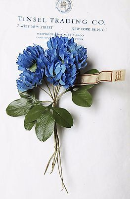 Lovely Vintage Czech Blue Clover Millinery Hat Flower UNUSED Tag Attached