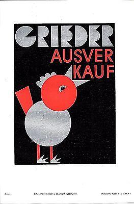 Original vintage poster print GRIEDER SALES BIRD 1929 Cyliax