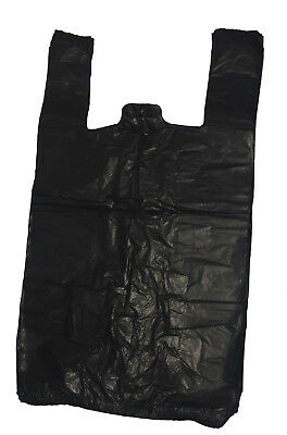 500 Strong Black Vest Carrier Bags Bottle  11x17x21