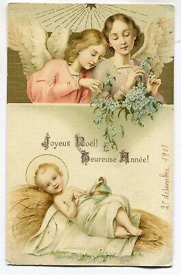 CPA - Carte Postale - Joyeux Noël - Heureuse Année - Ange - Bébé - 1907 (SV6514