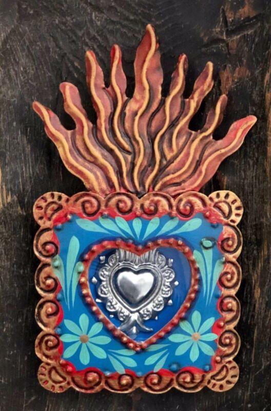 SACRED HEART MILAGRO Frame, Painted Tin Nicho, Mexican Folk Art