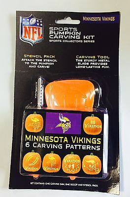 Minnesota Vikings Halloween Pumpkin Carving Kit New! Stencils for Jack-o-latern - Halloween Pumpkin Carvings Stencils