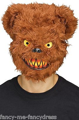 Mens Halloween Brown Evil Killer Teddy Bear Halloween Fancy Dress Costume Mask (Evil Teddy Bear Halloween)