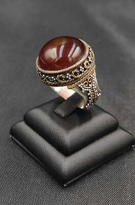 Huge vintage Ring with very large amber coloured Agate Stone Statement Ring size Q or 8 Artisan Hand crafted Artist Handmade