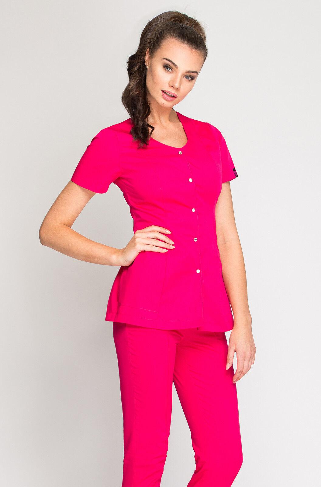 Damenkasack Damen Tunika Kasack Pflege SPA Schürze Medizin Berufskleidung Kasak