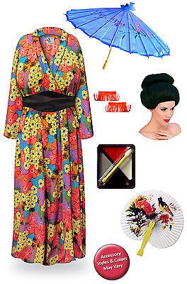 Geisha Neon Retro Floral Plus Size Halloween Costume Robe 1x 2x 3x 4x 5x 6x - Florale Geisha Kostüm