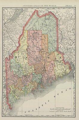 1893 Rand McNally & Co., Maine (Original Antique Map, Printed Color)