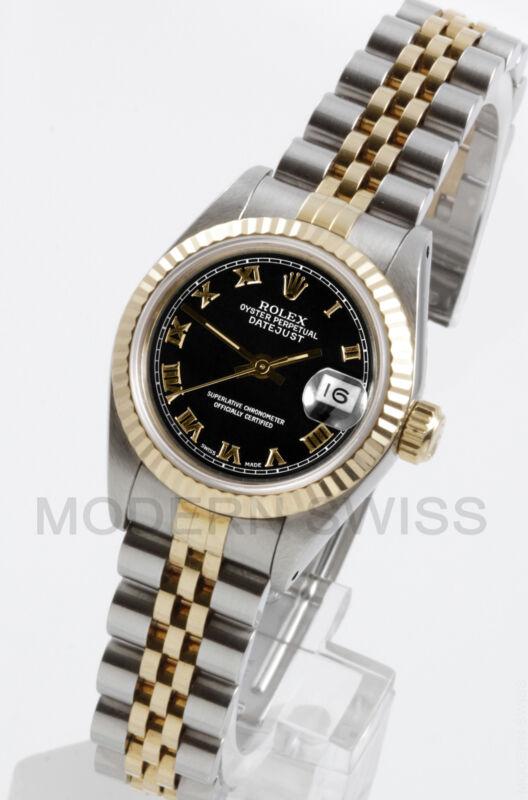 Rolex Ladies Datejust 18k Gold & Steel Black Roman Fluted Jubilee 69173 Quickset