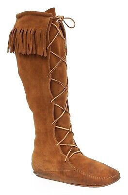 MINNETONKA Moccasins 6.5 M Womens FRINGE Suede Leather VTG Knee High Tall Boots