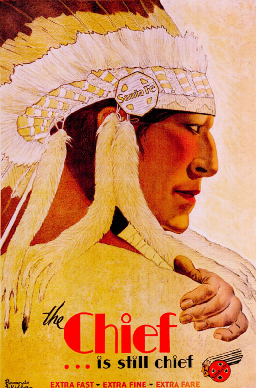 Santa Fe New Mexico The Chief Still  United States  Travel Advertisement Poster