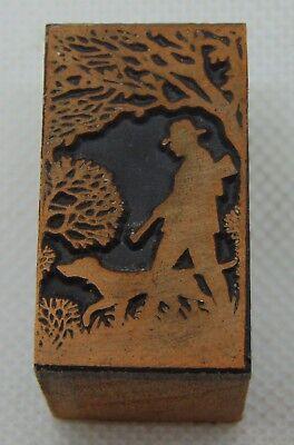 Vintage Printing Letterpress Printers Block Bird Hunting With Dog Shotgun