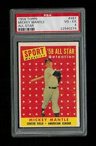 1958 Topps #487 Mickey Mantle All-Star NY Yankees PSA 4