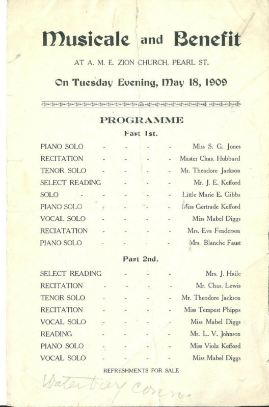 1909 A.M.E. Zion Church New York City  Musical and Benifit Program