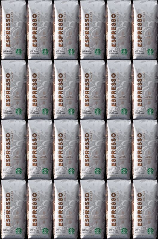 Starbucks Espresso Blend Dark Roast Whole Bean Coffee 1Lb Each 24-Pack BBD 3/21