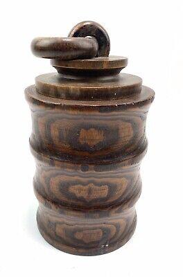 Vintage Turned Wooden Lidded Tobacco Pot Storage