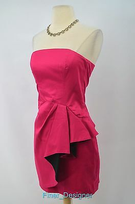 FRENCH CONNECTION hot Pink brushed Cotton Strapless Dress Sexy flowing SZ 2 NEW