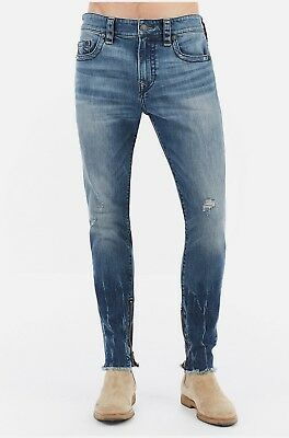 True Religion Mens $229 Jeans Finn Slim Tapered Frayed Ankle Zip Envy -