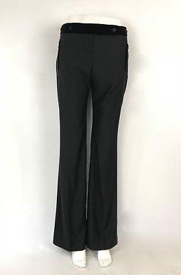 NWOTs Alexander McQueen black dress pants tuxedo velvet silk long trouser Sz4/ 6