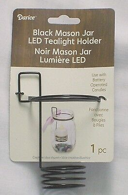 DARICE BLACK MASON JAR LED TEALIGHT CANDLE HOLDER - NEW