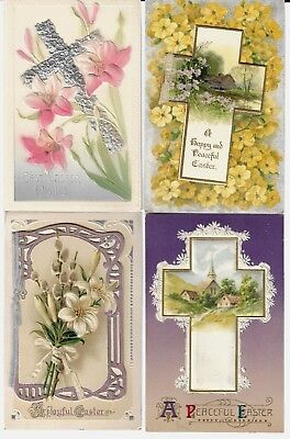 4 Vntge Religious Easter Postcards:front of 2 have add-on card (opens) Germany