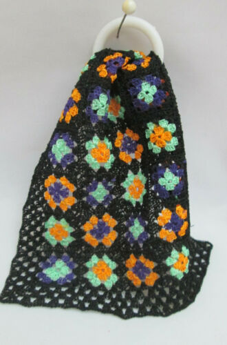 """Dollhouse Miniature Crochet Halloween Granny Square Afghan #H9 3 3/4"""" by 4 3/4"""""""
