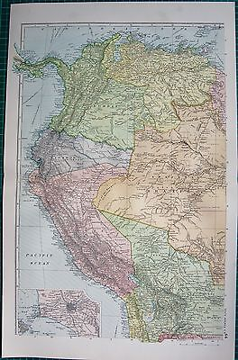 1901 LARGE VICTORIAN  MAP-SOUTH AMERICA NORTH WEST,COLOMBIA,AMAZONAS,PERU,BOLIVI