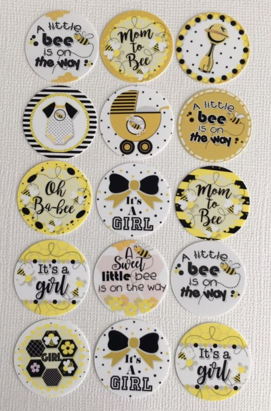 Girl Baby Shower Bumble Bee 1 inch 15 pcs. Precut Bottle Cap Images It's a girl