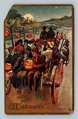HALLOWEEN Vintage Tuck #183 Postcard Hayride Couple Holding Jack-O-Lantern's