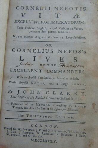 Cornelius Nepos's Lives Of the Excellent Commanders by John Clarke  1784 LATIN