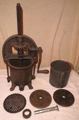 Enterprise 4 Qt Fruitlard Press Sausage Stuffer Cast Iron Complete Antique